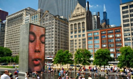 Crown Fountain picture of a woman in Millennium Park Chicago