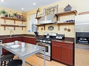 Kitchen with Red Cabinets