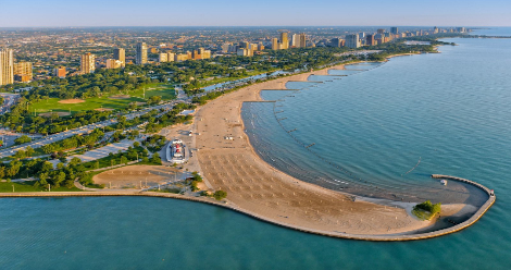 view of Chicago's lakefront beaches